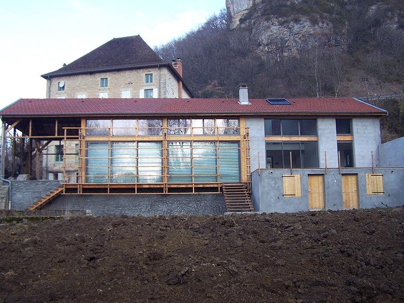 reconversion d'un bâtiment industriel bois en maison individuelle Serrières de Briord - 01470